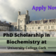 PhD Scholarship in Biochemistry at University College Cork