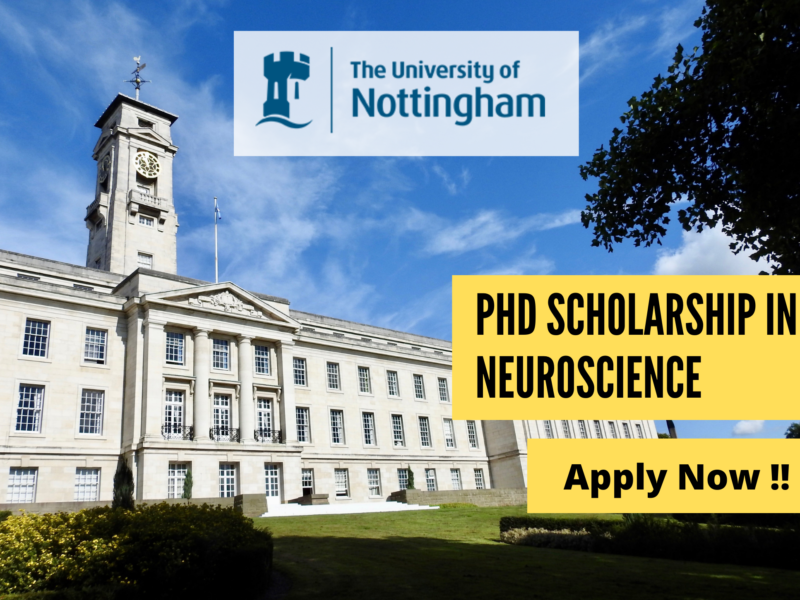 PhD Scholarship in Neuroscience at University of Nottingham